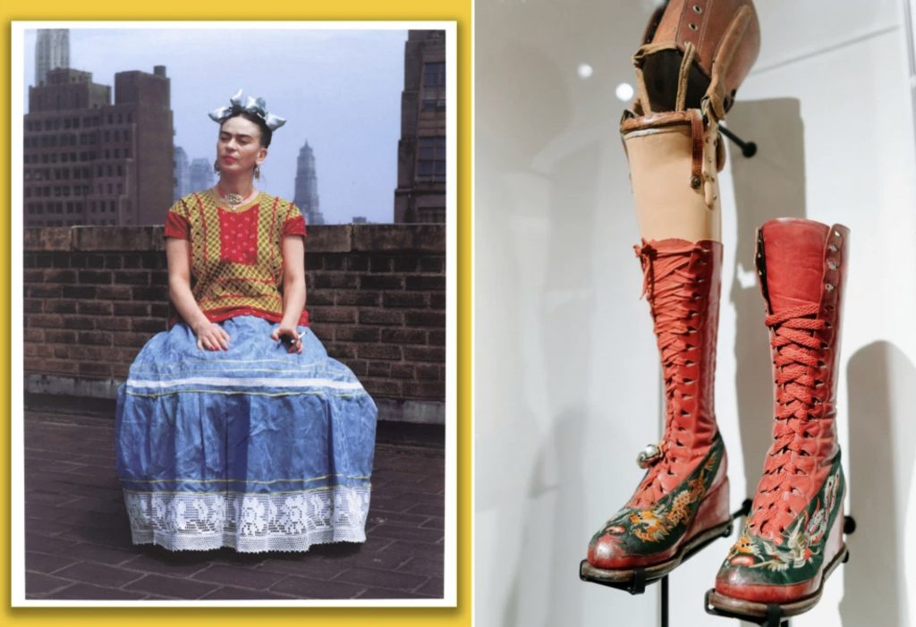 Left: Frida Kahlo, Photograph by Nickolas Muray; Right: Frida Kahlo's Custom-made Prosthetic Leg, with its painted Red Boot, Photograph by Stefano Giovannin, Brooklyn Museum, New York, USA.