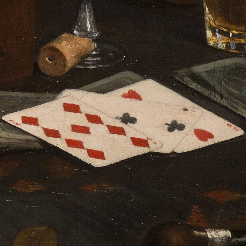 Claude Raguet Hirst, A Gentleman's Table, after 1890, National Museum of Women in the Arts, Washington DC, USA. Enlarged Detail of Cards.