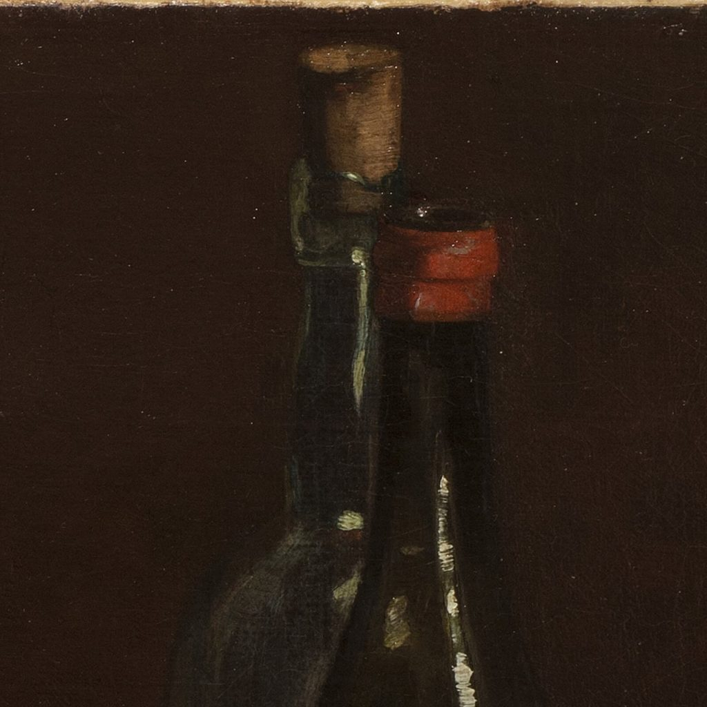 Claude Raguet Hirst, A Gentleman's Table, after 1890, National Museum of Women in the Arts, Washington DC, USA. Enlarged Detail of Wine Bottles.