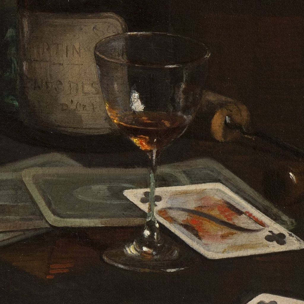 Claude Raguet Hirst, A Gentleman's Table, after 1890, National Museum of Women in the Arts, Washington DC, USA. Enlarged Detail of Brandy Glass.