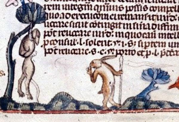 Medieval Killer Rabbits:  Decretals of Gregory IX, ca. 1300 - 1340, MS royal 10 E IV, British Museum, London, UK.