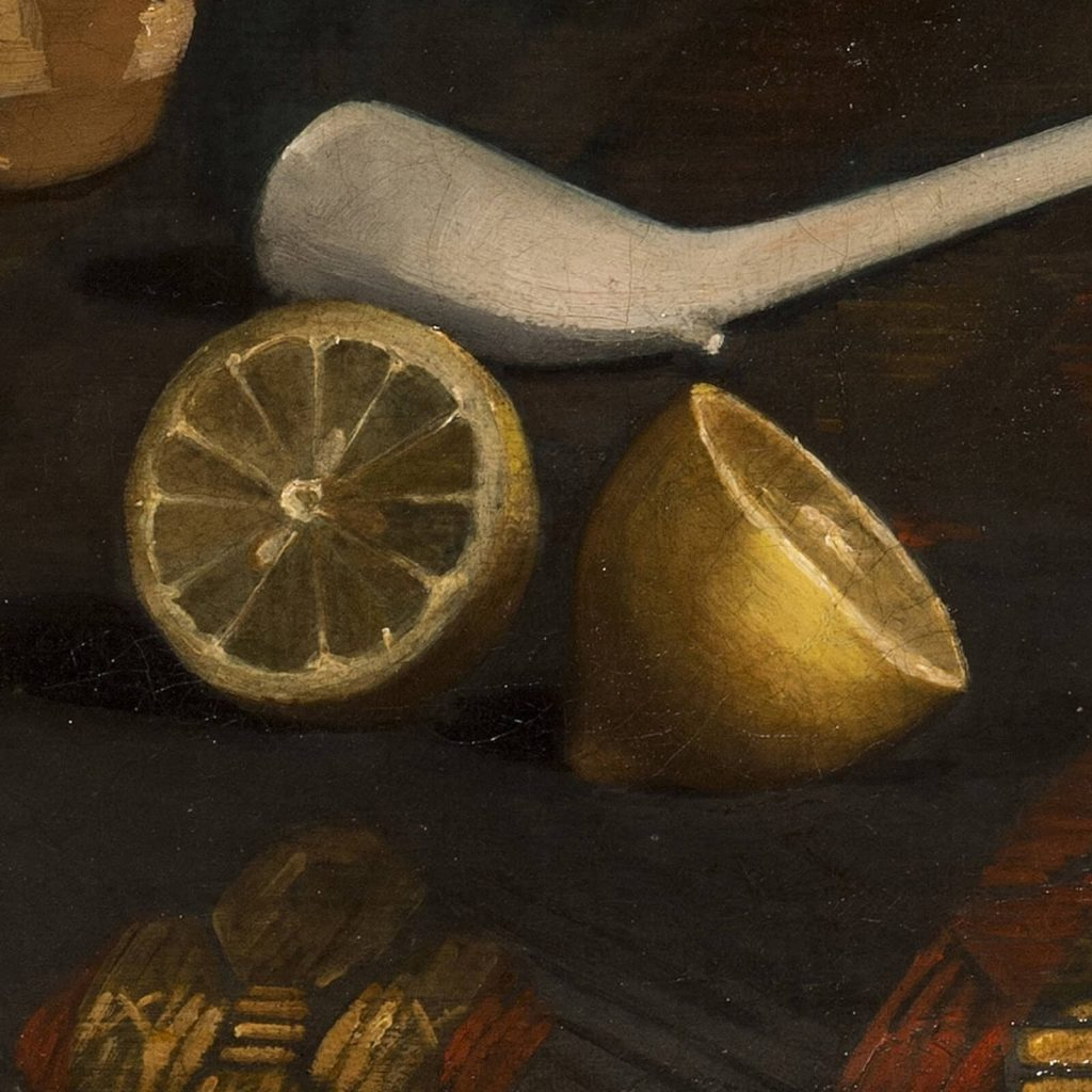 Claude Raguet Hirst, A Gentleman's Table, after 1890, National Museum of Women in the Arts, Washington DC, USA. Enlarged Detail of Lemons.