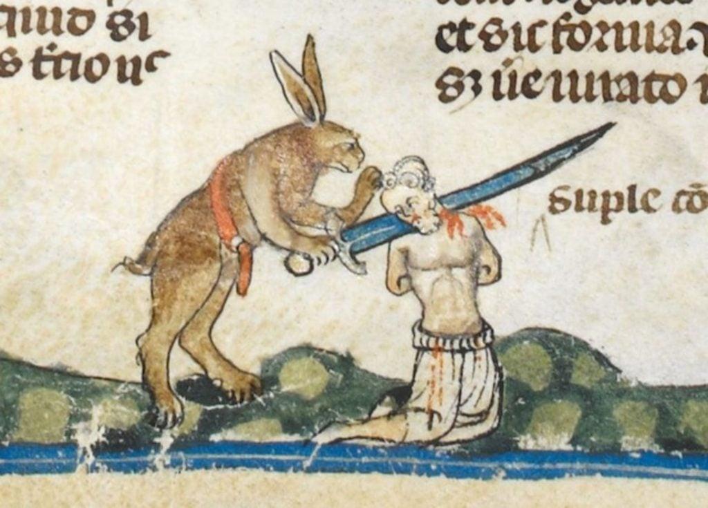 Medieval Killer Rabbits: Smithfield Decretals, c. 1300, British Library, London, UK. Detail.