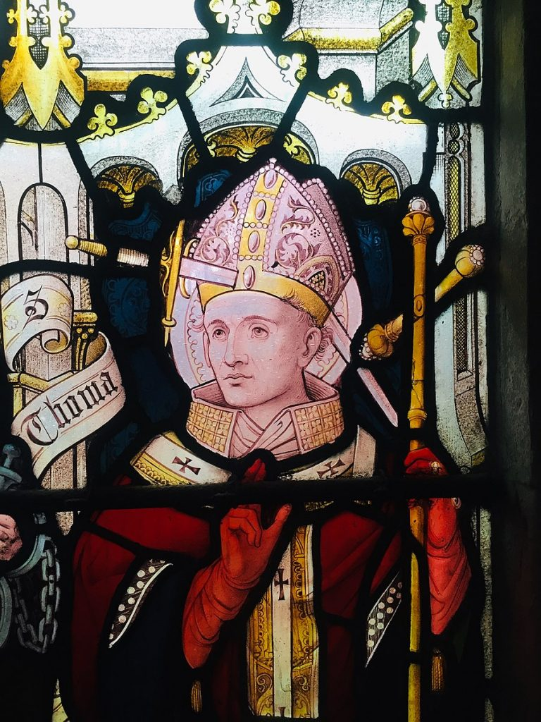 Nathaniel Westlake, Stained glass window with Thomas Becket, St Peter's Church, Berkhamsted, England, UK.