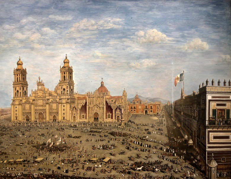 traveling artists mexico. Octaviano d'Alvimar, View of the Major Plaza of Mexico, 1822. Private collection.