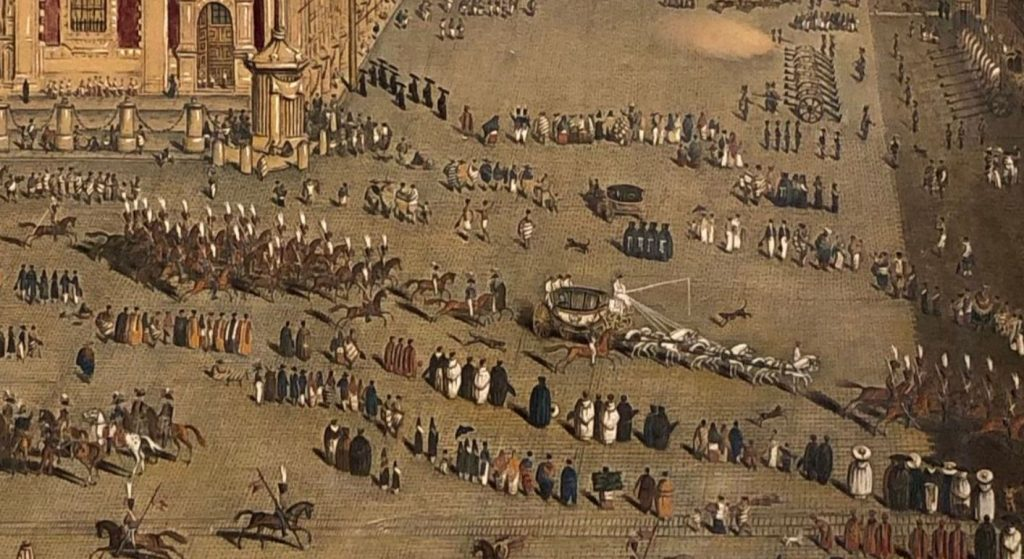 Octaviano d'Alvimar, View of the Major Plaza of Mexico (detail), 1822. Private collection.