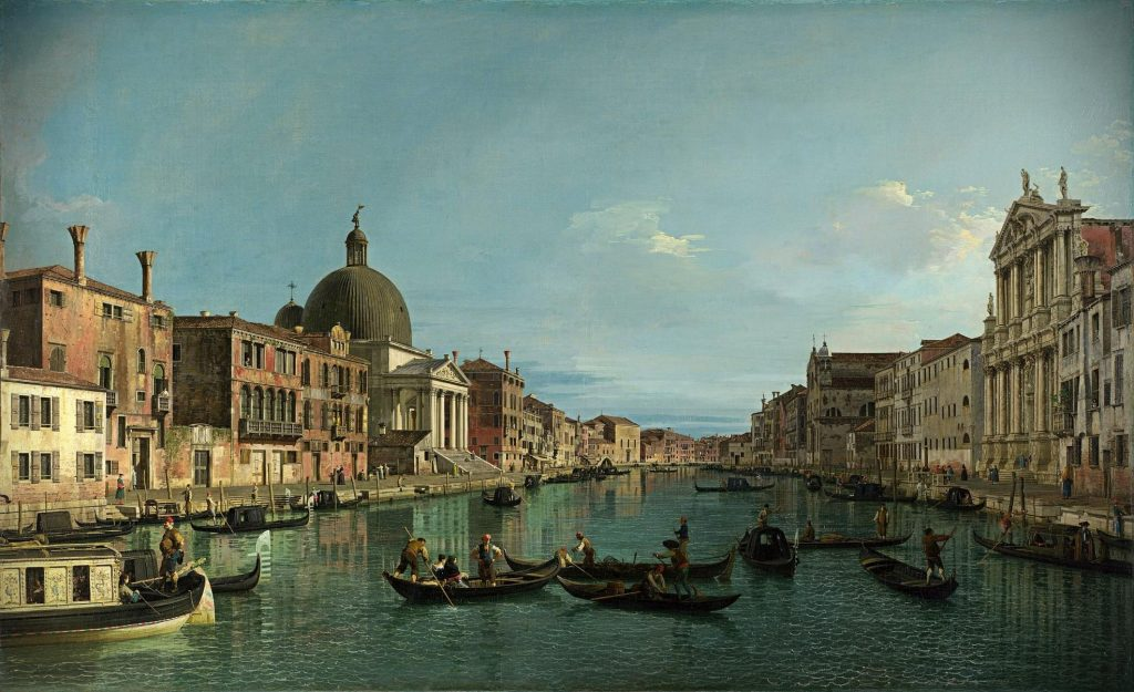 Canaletto, Venice: The Grand Canal with S. Simeone Piccolo, ca. 1740, National Gallery, London, UK.