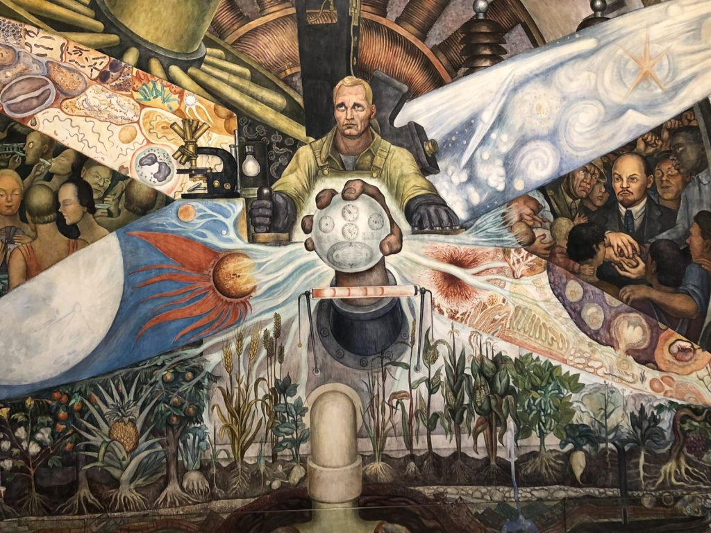 Man at Crossroads, Diego Rivera: Diego Rivera, Man Controller of the Universe, fresco, 1934, Palace of Fine Arts, Mexico City, Mexico. Detail.