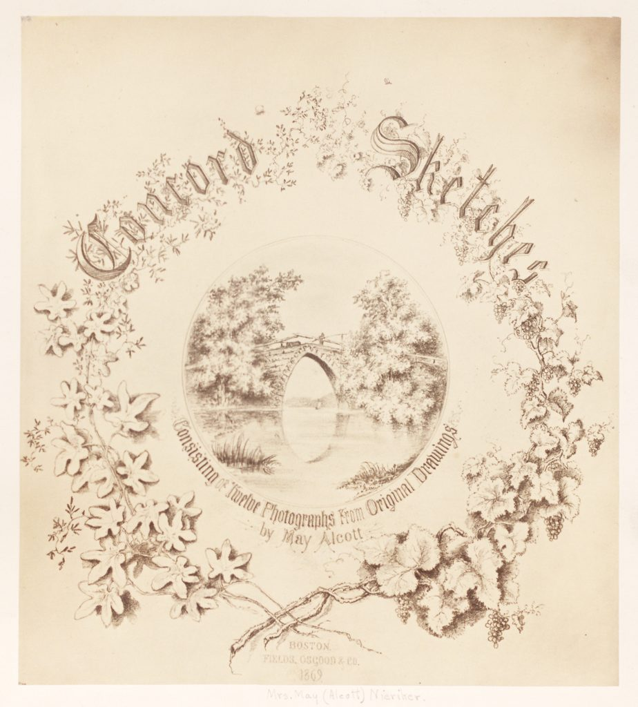 Title page of the book Concord Sketches: Consisting of Twelve Photographs from Original Drawings by May Alcott. Published in Boston by Fields, Osgood & Co. in 1869