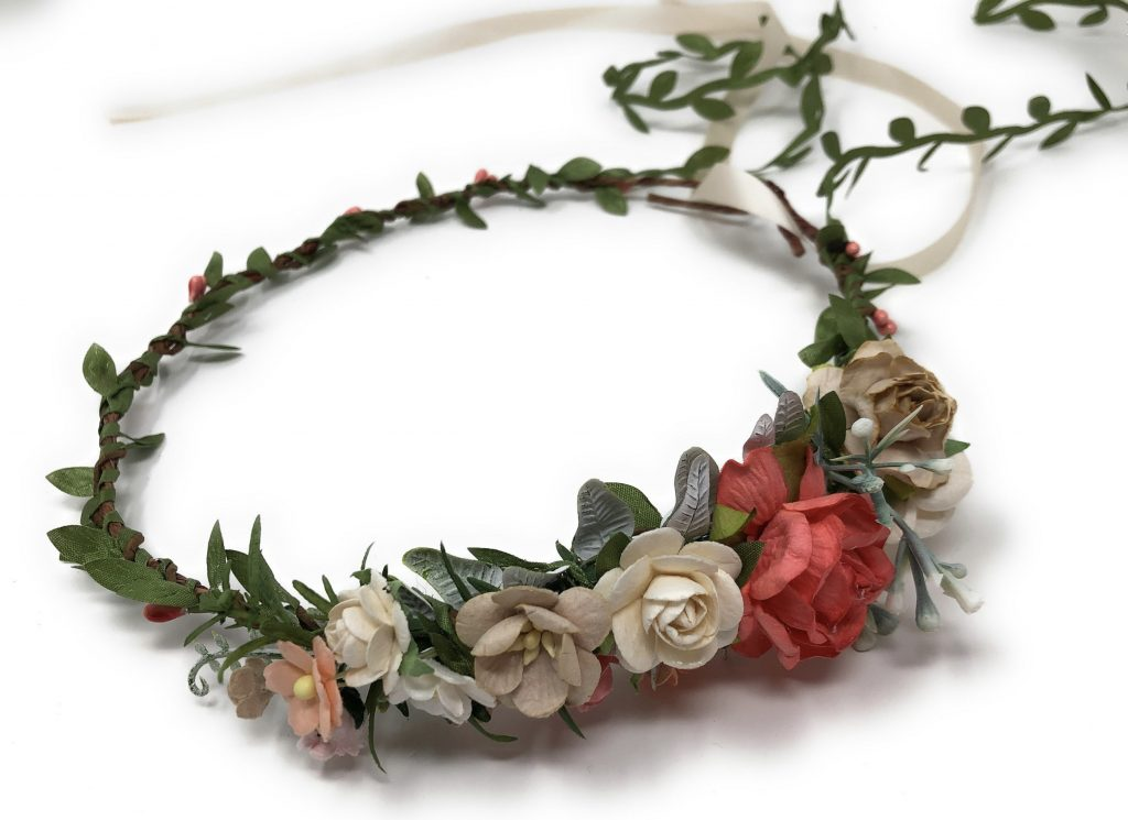 Floral Crown Headband Coral, frida kahlo's style.