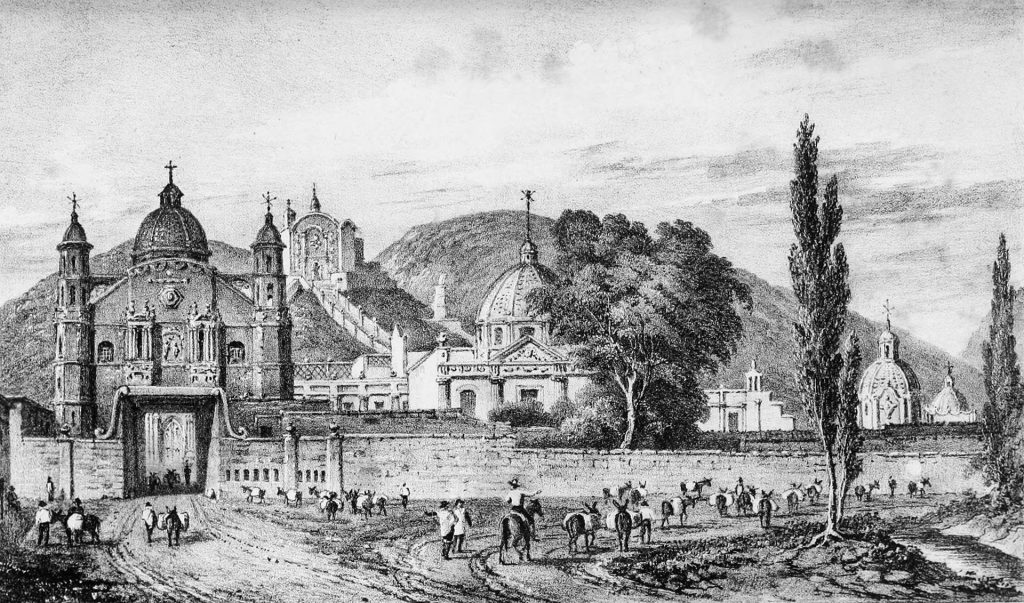 traveling artists mexico. Elizabeth Ward, Collegiate Church of Guadalupe, 1828. From Six Views of the Most Important Towns and Mining Districts.