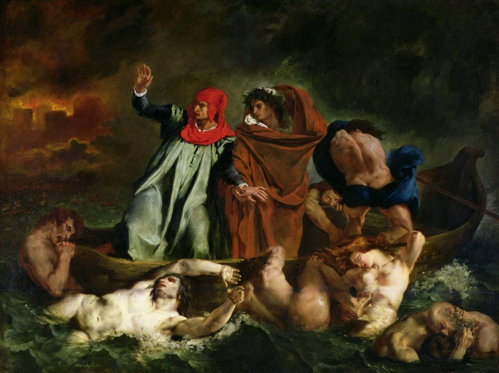 Eugène Delacroix, The Barque of Dante, 1822, Louvre, Paris, France. Rivers in paintings.