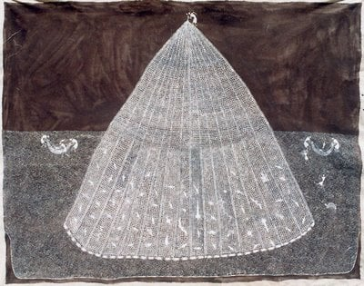 Warli painting Jivya Soma Mashe,  Fish men, 1997, acrylic and cow dung on canvas, location unknown