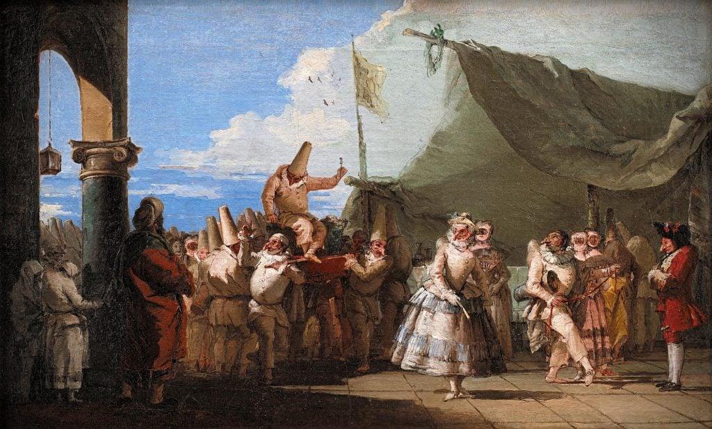 Giovanni Domenico Tiepolo, The Triumph of Pulcinella, Venice, 1760-1770, Statens Museum for Kunst Copenhagen, Denmark.