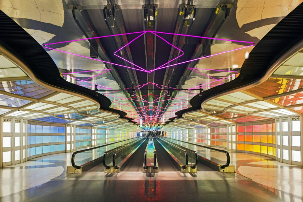 Helmut Jahn, United Airlines Terminal, Chicago O'Hare International Airport, 1987, Chicago, US - postmodernism