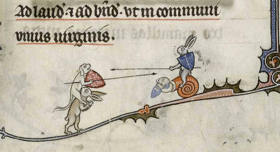 Medieval Killer Rabbits:  Breviary of Renaud de Bar, ca. 1302 - 1303, 8 f. 294r, British Library, London, UK.