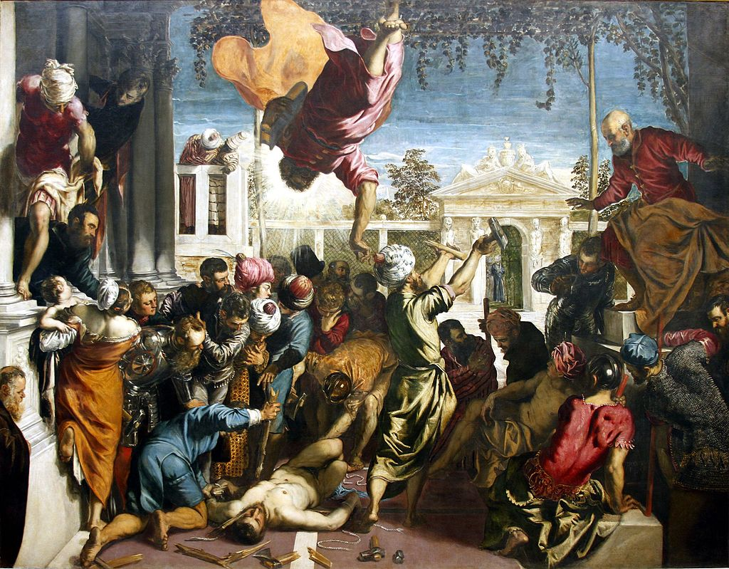 Tintoretto, Miracle of The Slave, 1548, Galleria dell'Accademia, Venice, Italy. painters of the Venetian Renaissance