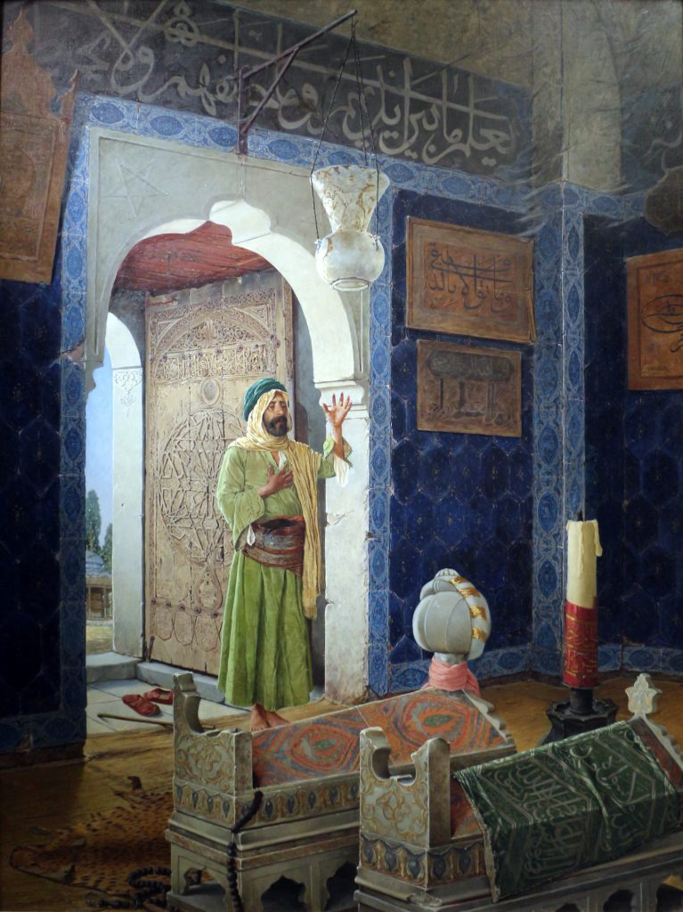 Osman Hamdi Bey, Man in front of children's tombs in a türbe, 1903, Musée d'Orsay, Paris, France.