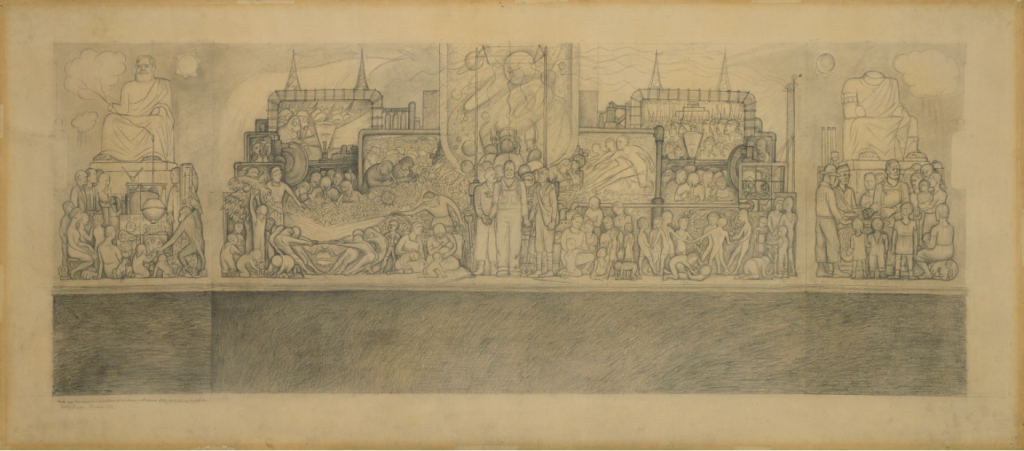 Man at Crossroads, Diego Rivera: Diego Rivera, preparatory sketch for Man at the Crossroads, 1932