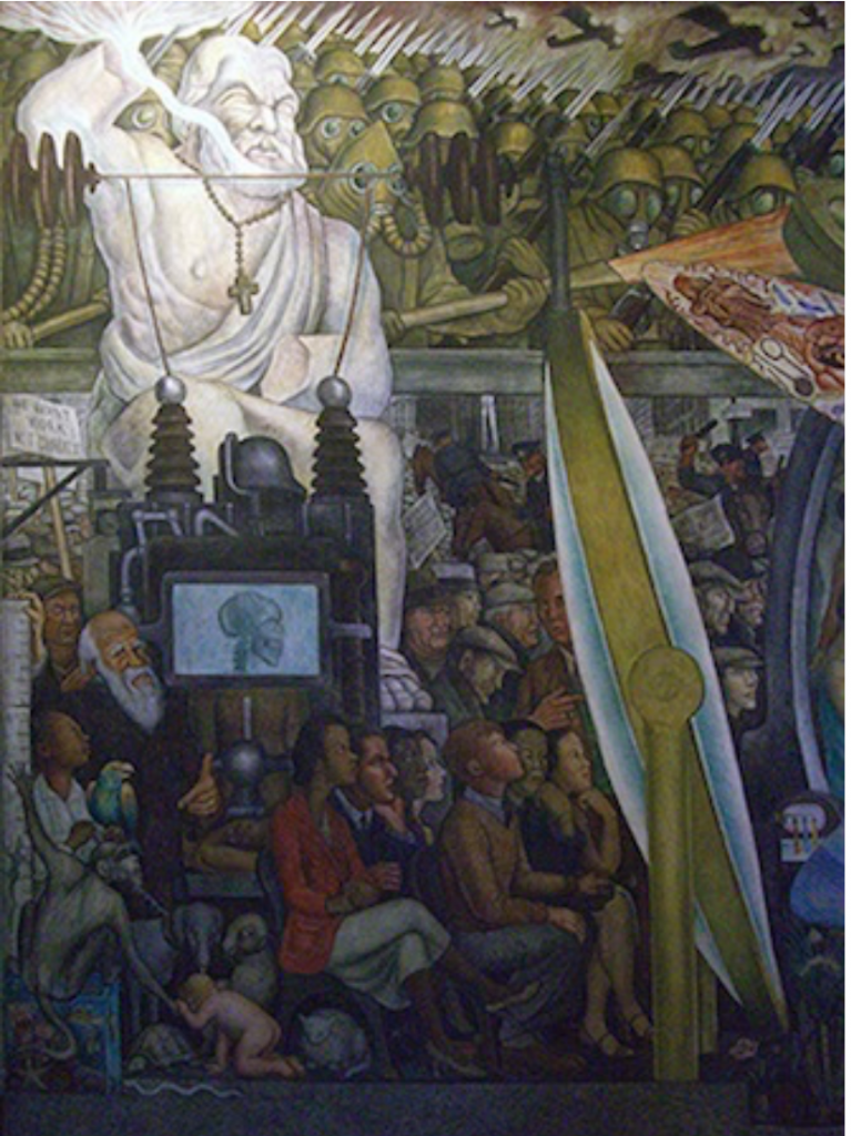 Man at Crossroads, Diego Rivera: Diego Rivera, Man, Controller of the Universe, detail depicting the brutalities of WW2 and the statue of Jupiter, 1934, Palace of Fine Arts, Mexico City, Mexico.