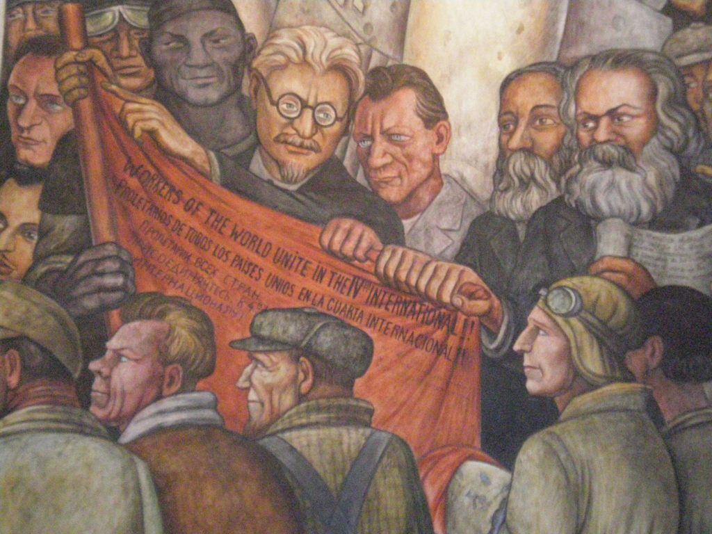 Man at Crossroads, Diego Rivera: Diego Rivera, Man, Controller of the Universe, detail depicting Leon Trotsky, Friedrich Engles, and Karl Marx, fresco, 1934, Palace of Fine Arts, Mexico City, Mexico.