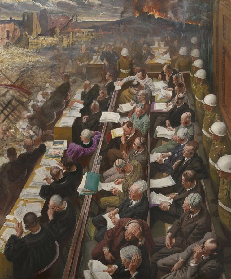 Dame Laura Knight, The Nuremberg Trial, 1946, Imperial War Museums, London, UK.
