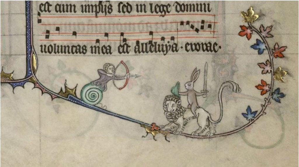 Medieval Killer Rabbits: Breviary of Renaud de Bar, 1302 - 1304, Ms 107, fol.-89r-89v, Bibliothèque de Verdun, Verdun, France. Detail.