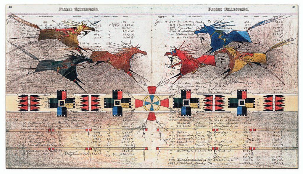 Donald Montileaux, Con.Fron.Ta.Tion, 2013, Native American Ledger Art
