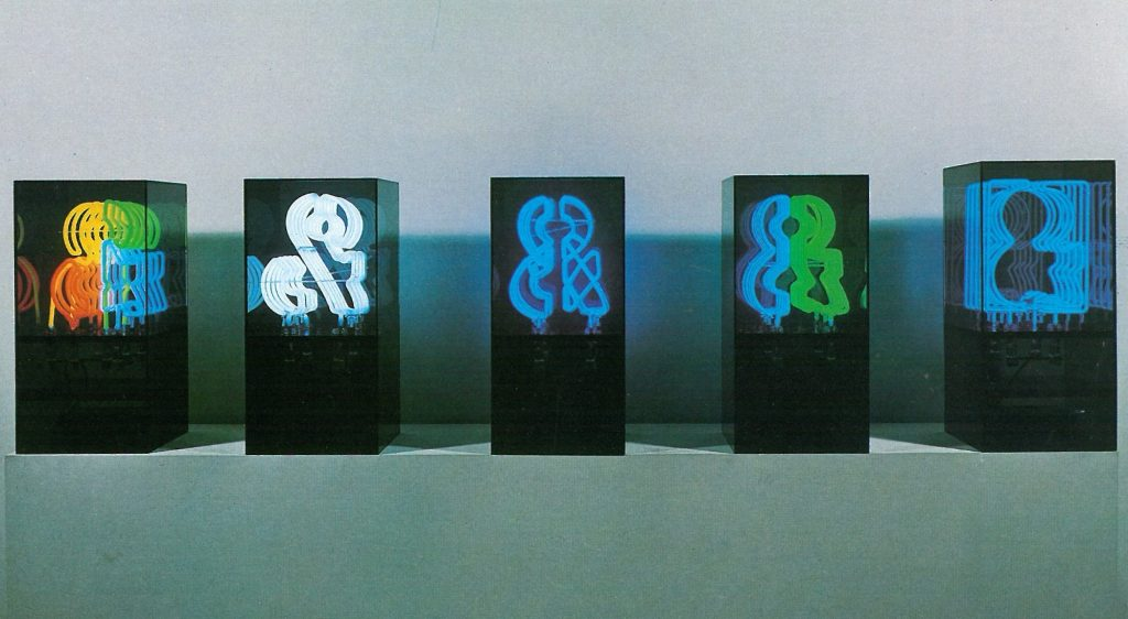 Chryssa, Five Variations on the Ampersand, 1966, neon in tinted-plexiglass vitrines. The Museum of Modern Art, New York, USA.