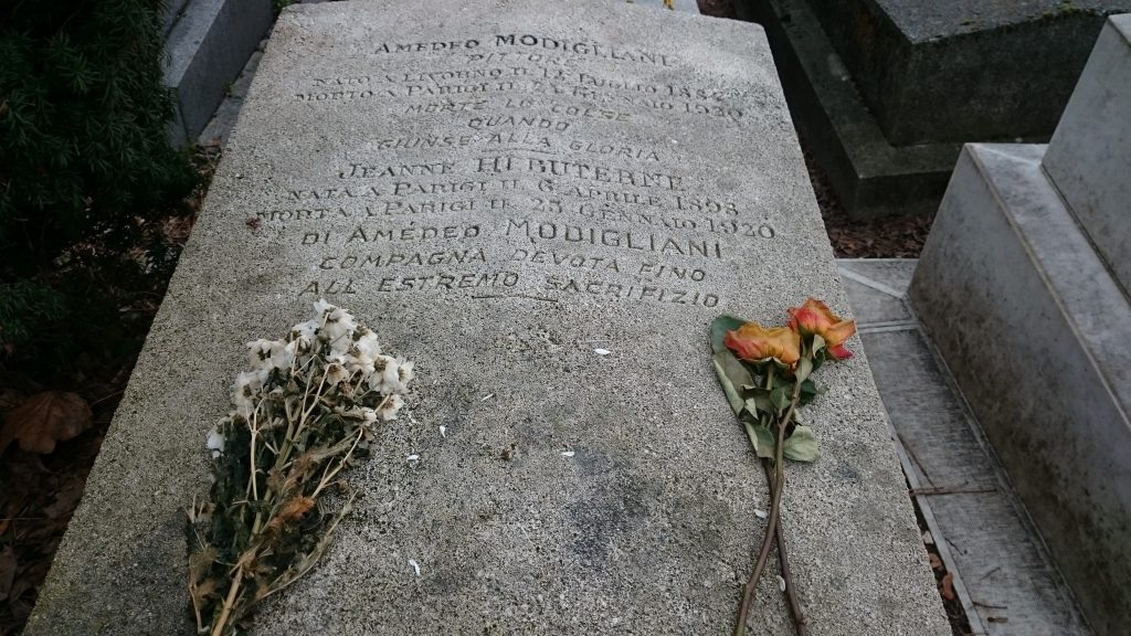 """Jeanne Hébuterne: Loving Modigliani. Novel by Linda Lappin. Jeanne and Amedeo's gravestone at Père Lachaise cemetery, Paris, France. Jeanne's inscription translates as """"Devoted companion to the extreme sacrifice"""""""
