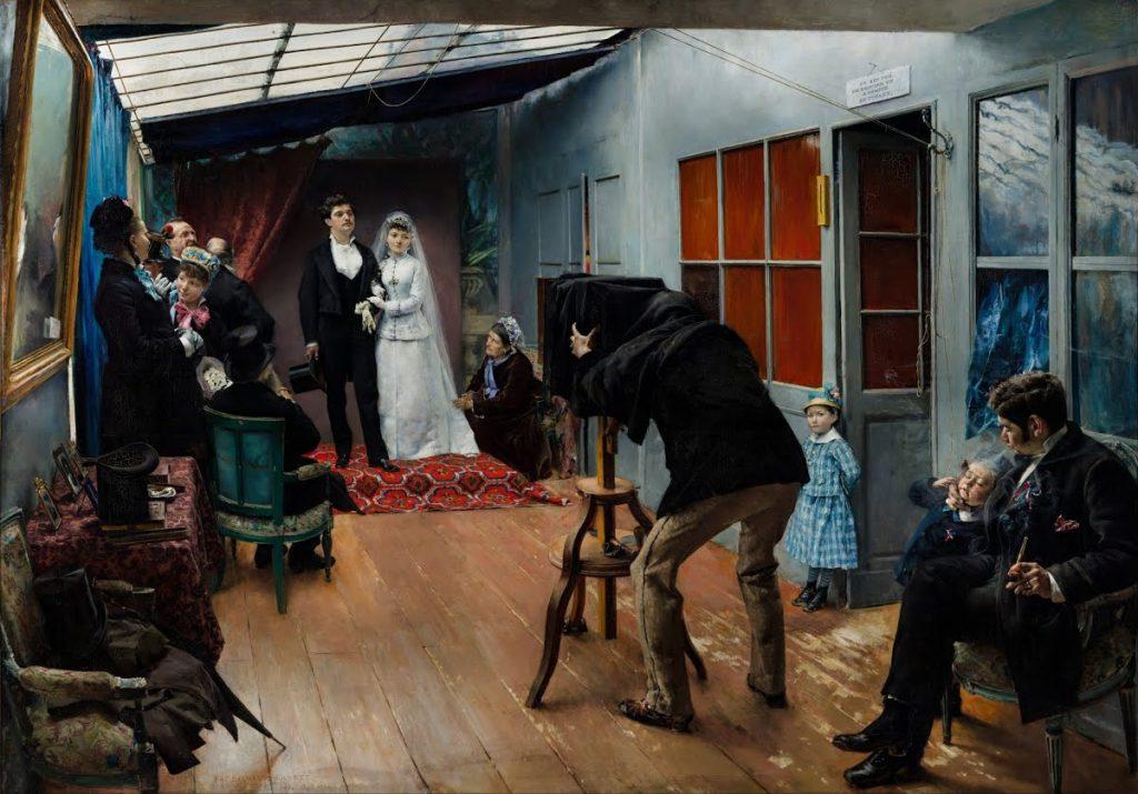 wedding in art: Pascal-Adolphe-Jean Dagnan-Bouveret, Wedding in the Photographer's Studio, ca. 1879, Musée des Beaux-Arts de Lyon, Lyon, France.