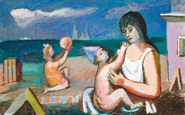 Vacation Inspired by Art History: Roman Selsky, Mother with Child at Beach, 1980s. Encyclopedia of Ukraine.