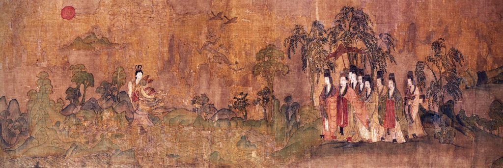 Gu Kaizhi (copy after), The Nymph of the Luo River, detail, 10-13th century, handscroll, ink and colors on silk, Chinese paintings