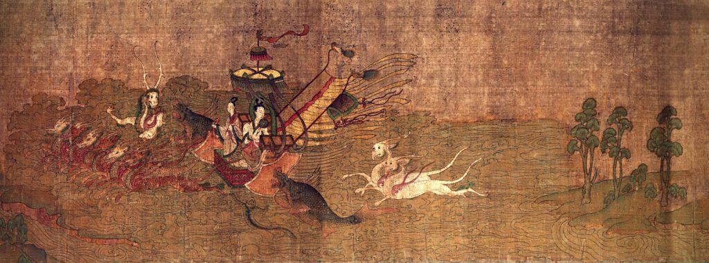 Gu Kaizhi (copy after), The Nymph of the Luo River, 10-13th century, handscroll, ink and colors on silk, Palace Museum, Beijing, China. Detail. Chinese paintings