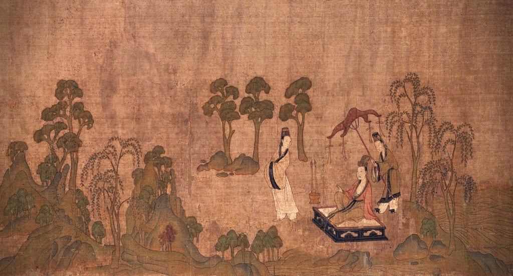 Gu Kaizhi (copy after), The Nymph of the Luo River, detail, 10-13th century, handscroll, ink and colors on silk, Chinese