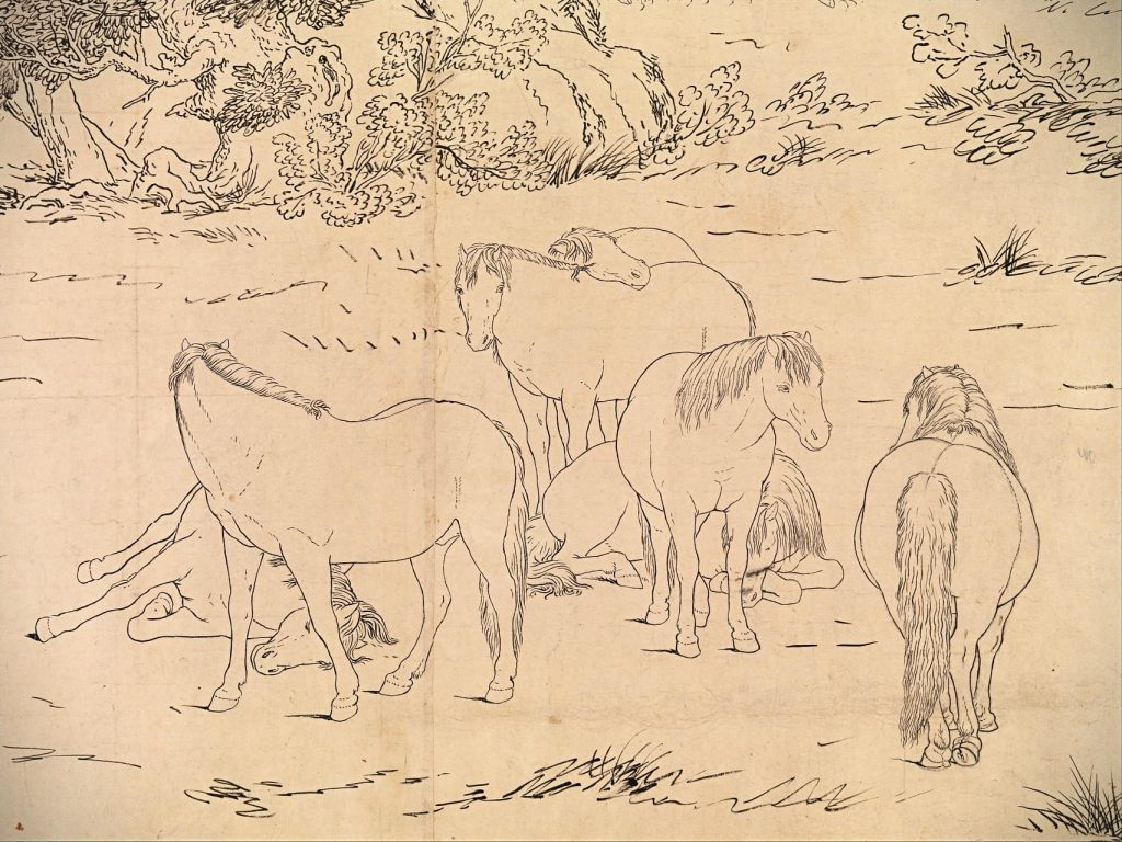 Giuseppe Castiglione, One Hundred Horses, detail, 1723–25, Chinese painting.