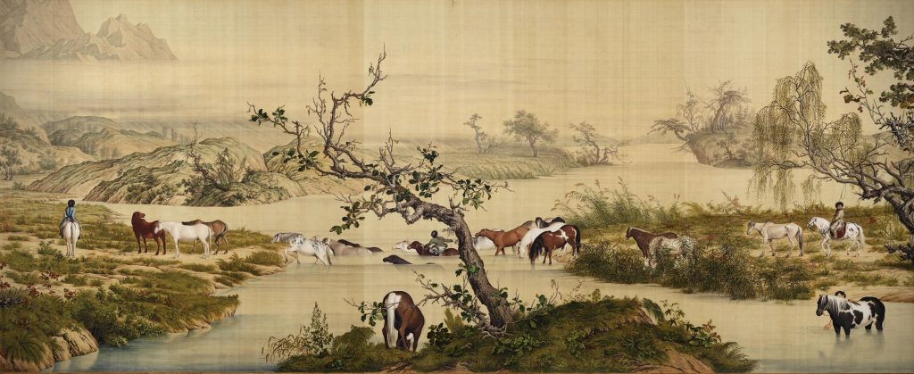 Giuseppe Castiglione, One Hundred Horses, detail, 1728, ink and colors on silk, Chinese painting.