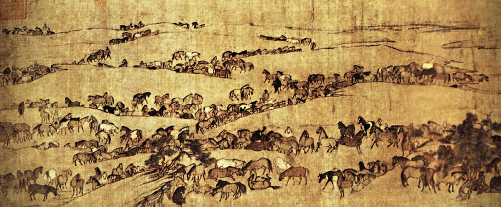 Li Gonglin, Imperial Horses at Pasture after Wei Yan, detail, ca. 1085, handscroll, color on silk, Chinese painting.