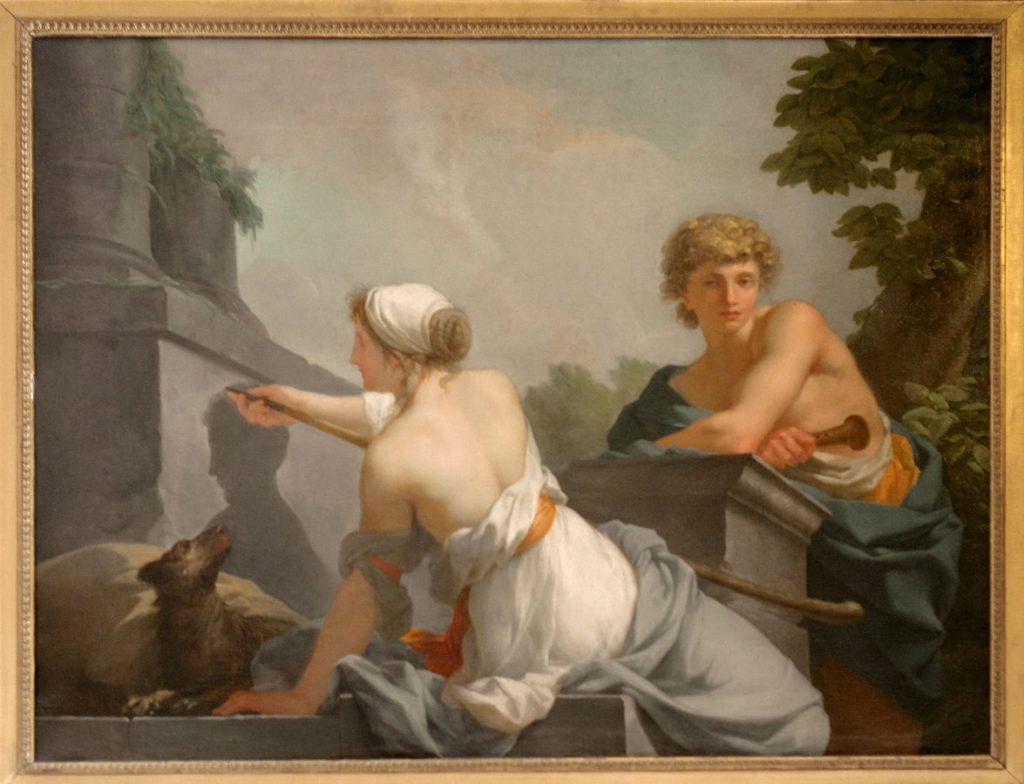 Jean-Baptiste Regnault, The Origin of Painting, 1786, Salon des Nobles du Château de Versailles, Versailles, France.
