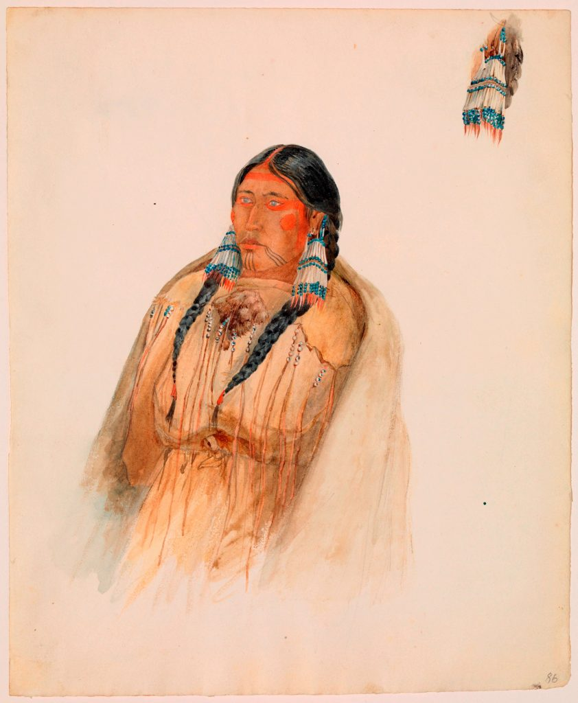 Karl Bodmer, Cree Woman, 1833, watercolor and graphite on paper, gift of the Enron Art Foundation, 1986, Joslyn Art Museum, Omaha, NE, USA.