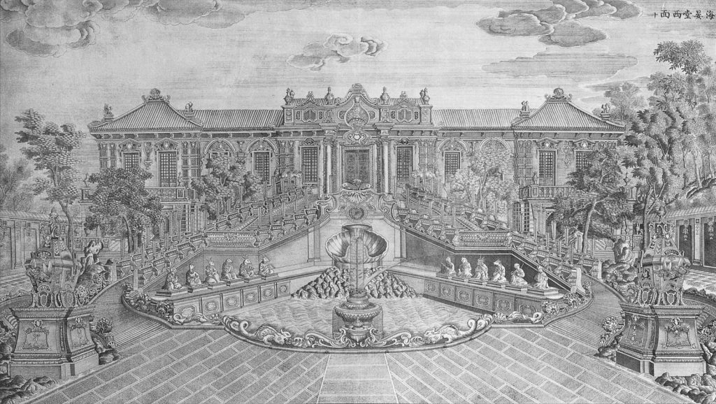 Drawing of formal European gardens and pavilion, Haiyantang Water Clock Fountain. The original figures in a drawing before the looting with all 12 head figures.