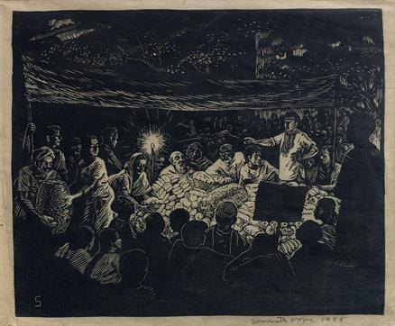 Indian Printmakers: Somnath Hore, Tebhaga Movement - At The Night Meeting, 1955, woodcut on paper pasted on board, collection of the artist's daughter.