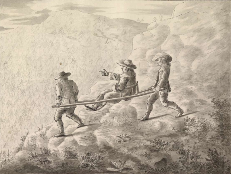 The Grand Tour: George Keate, The manner of passing Mount Cenis, 1755, British Museum, London, UK. A Grand Tourist crossing the Alps on a chair