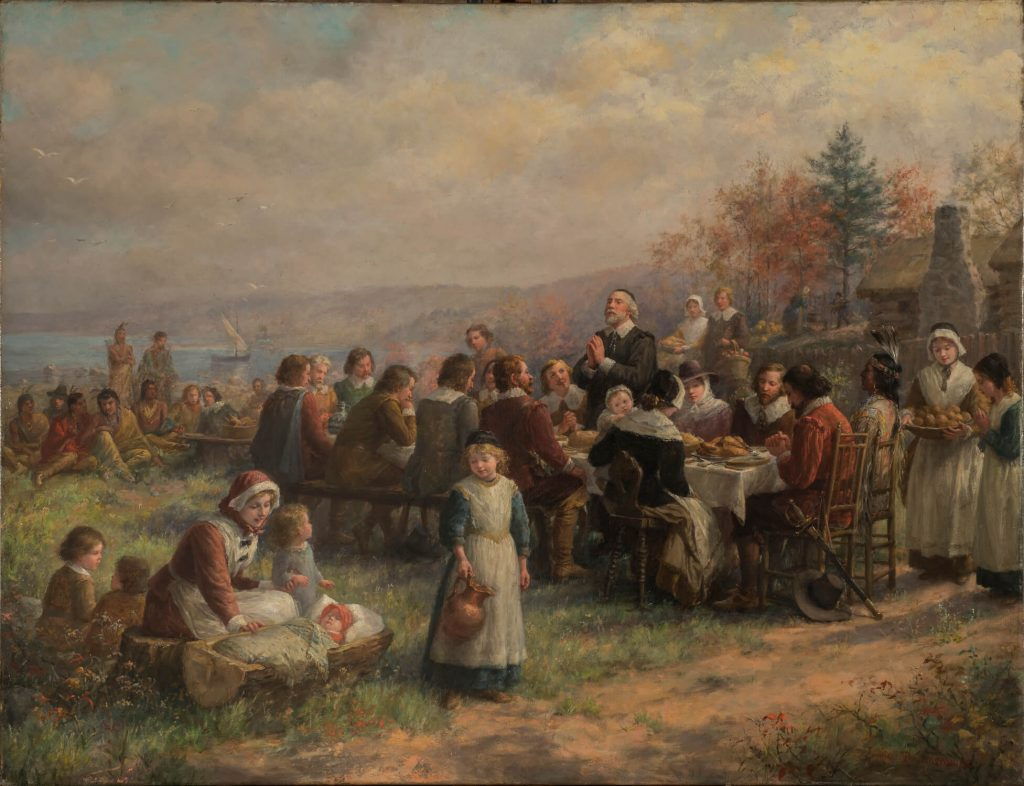 American female artists: Jennie Augusta Brownscombe, Thanksgiving at Plymouth, National Museum of Women in the Arts, Washington, DC, USA.