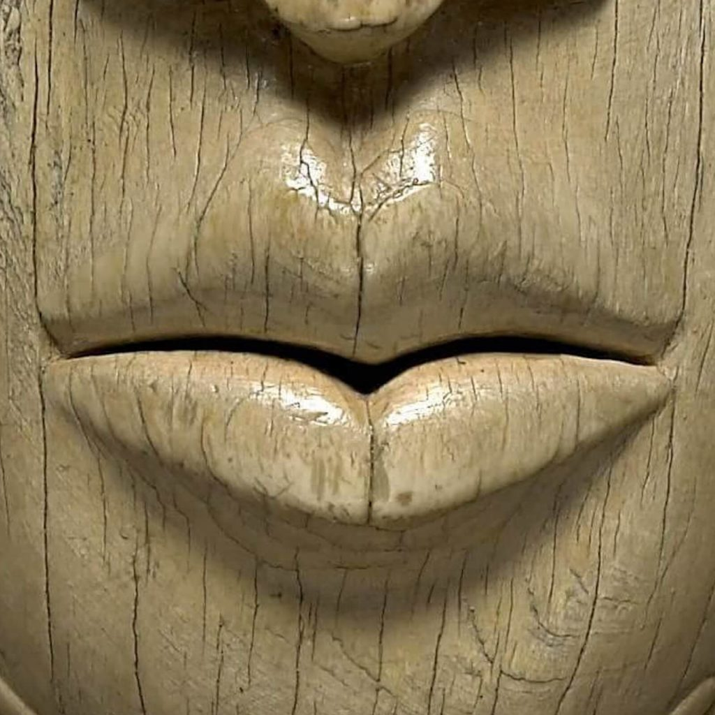 Queen Mother Idia of Benin, 16th century, British Museum, London, UK. Enlarged Detail. Mouth.