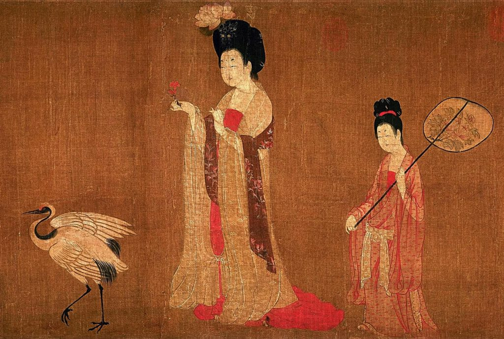 Zhou Fang (attr.), Court Ladies Adorning Their Hair with Flowers, detail, 8th century, handscroll, ink and colors on silk, Chinese paintings