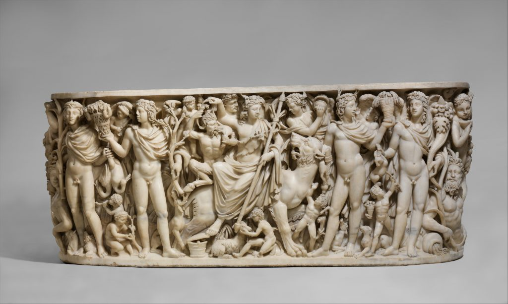 The Grand Tour: Marble sarcophagus with the Triumph of Dionysos and the Seasons, ca. 260–270 CE, The Metropolitan Museum of Art, New York, NY, USA. a marble sarcophagus collected during The Grand Tour
