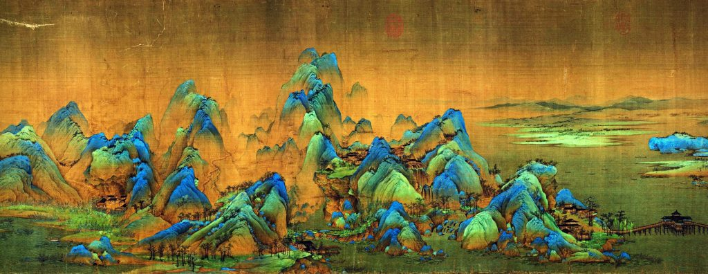 Wang Xi Meng, A Thousand Li of Rivers and Mountains, detail, 1113, handscroll, ink and colors on silk, Chinese painting.