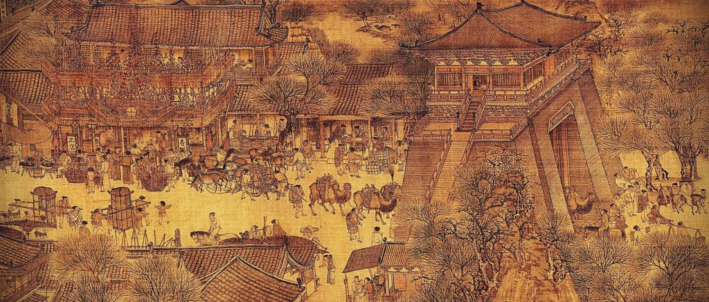 Zhang Zeduan, Along the River During the Qingming Festival, detail, 12th century, handscroll, ink and colors on silk, Chinese painting
