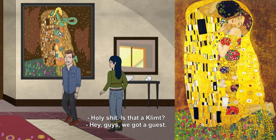 Art reference to Gustav Klimt, Kiss, in BoJack Horseman S3E05. BoJack Horseman/Netflix.